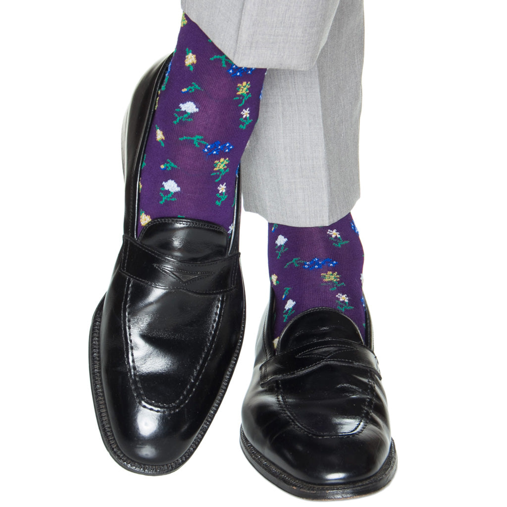 Purple-Mini-Floral-Cotton-Sock