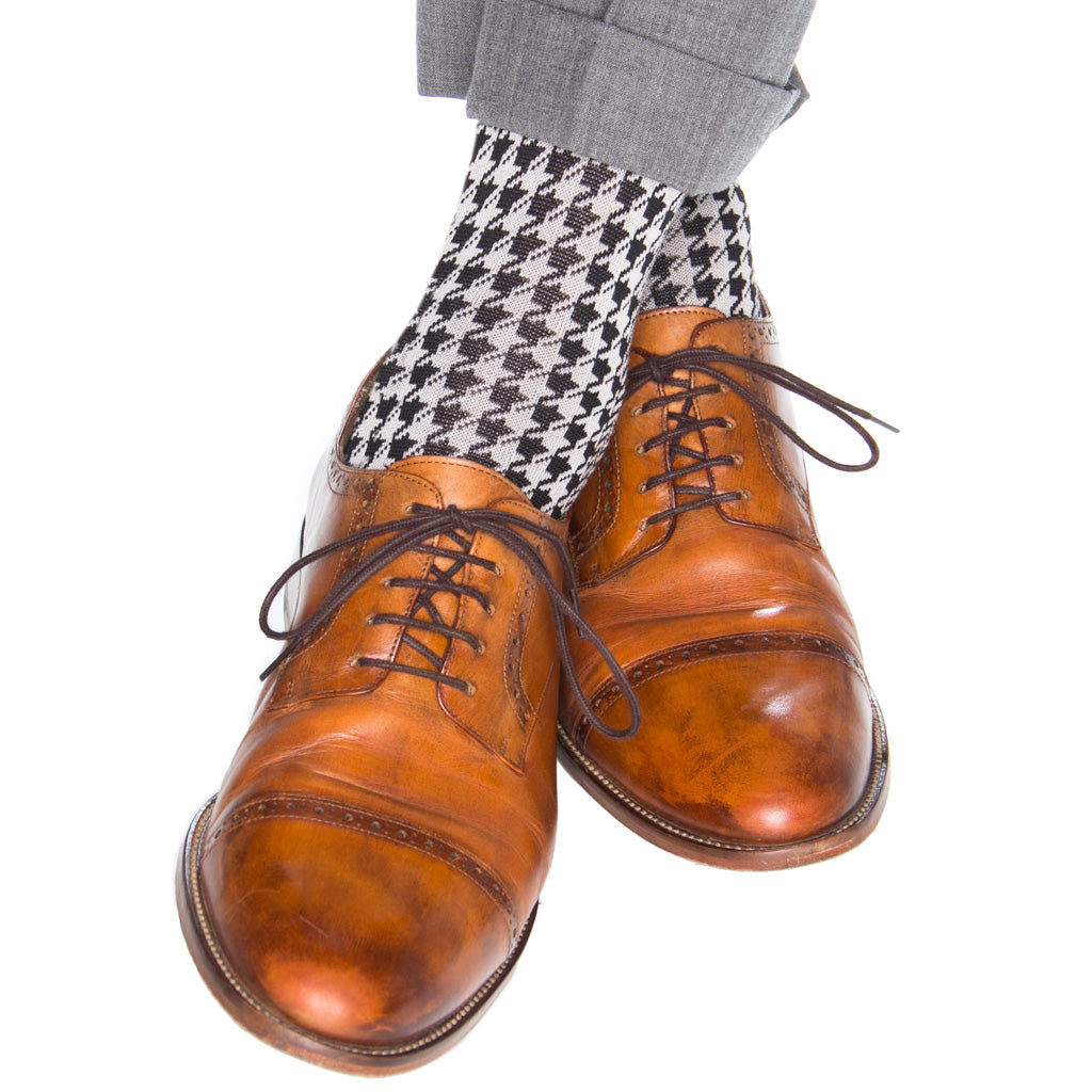 Black-White-Large-Houndstooth-Sock