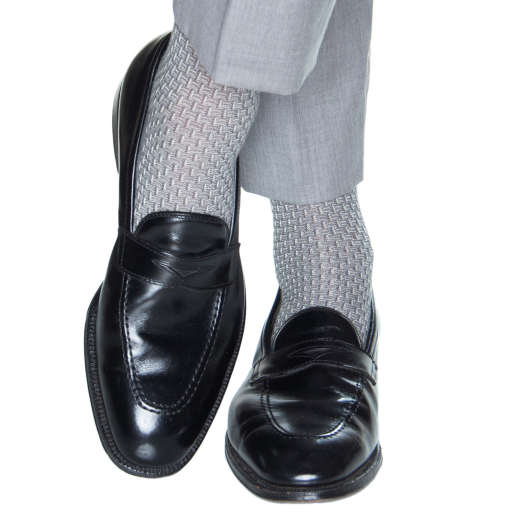 Basket-Weave-Mercury-Gray-Wool-Sock-USA