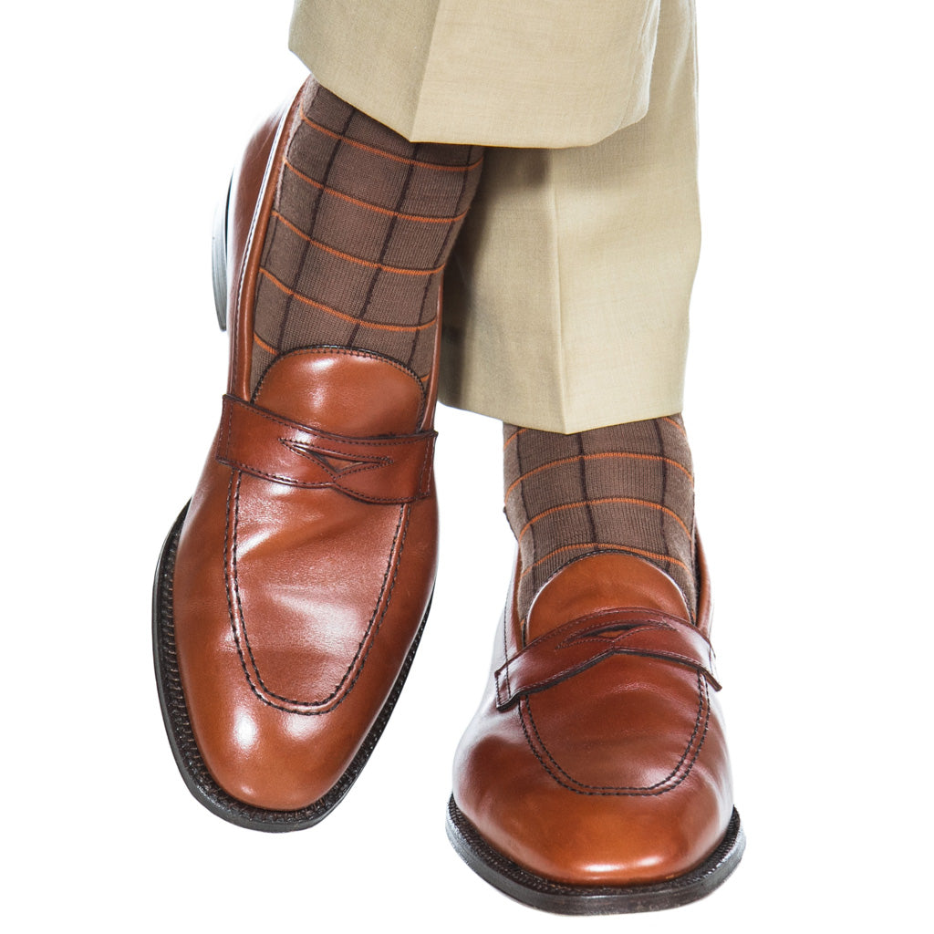 Patterned-Brown-Orange-Windowpane-Sock