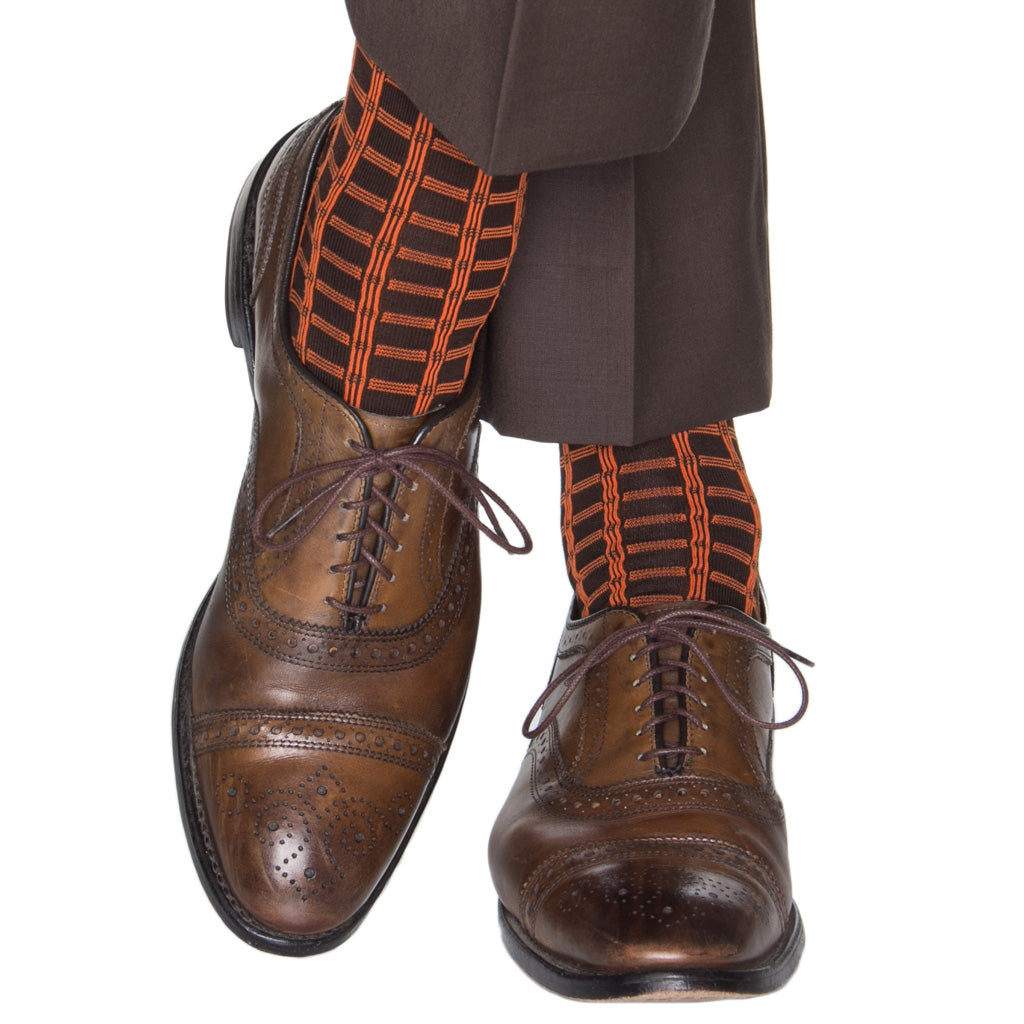 Brown-Orange-Windowpane-Cotton-Sock