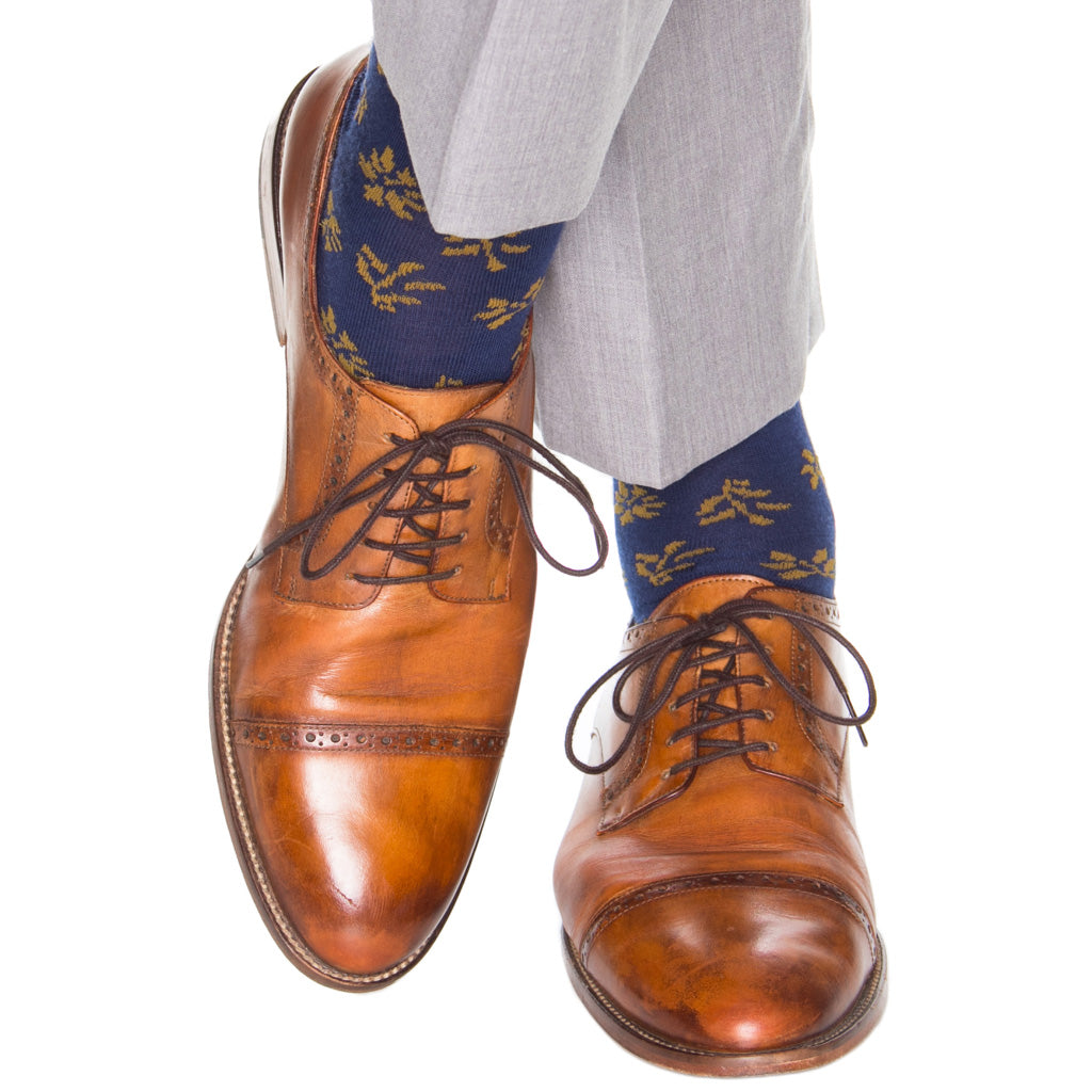 Navy-Gold-American-Made-Wool-Sock