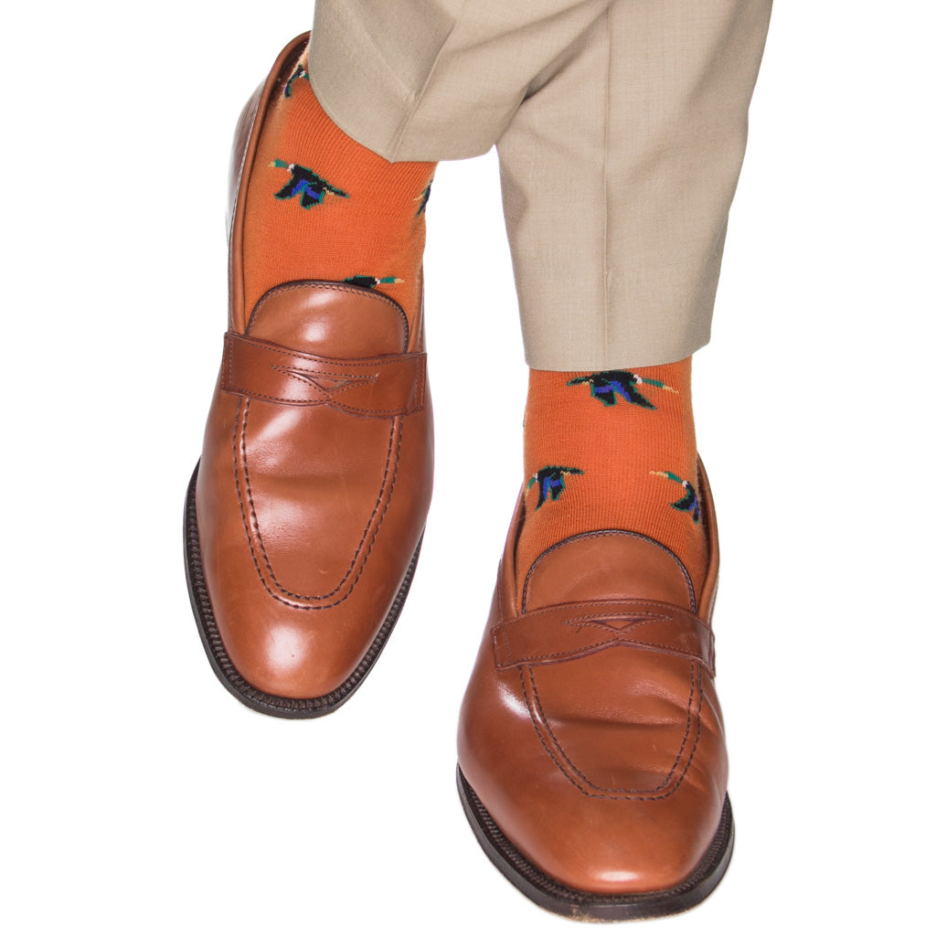 Burnt-Orange-Mallard-Wool-Sock