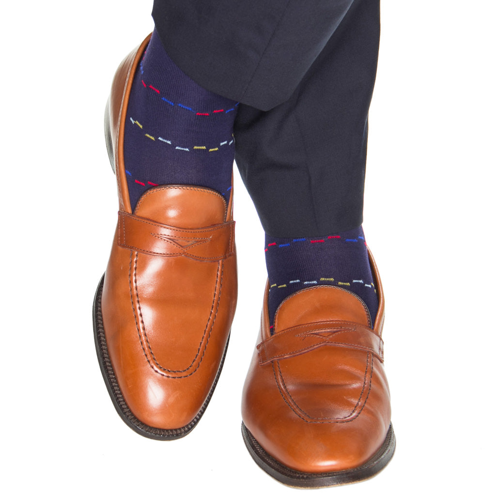 Cotton-Navy-Sock-With-Dashes