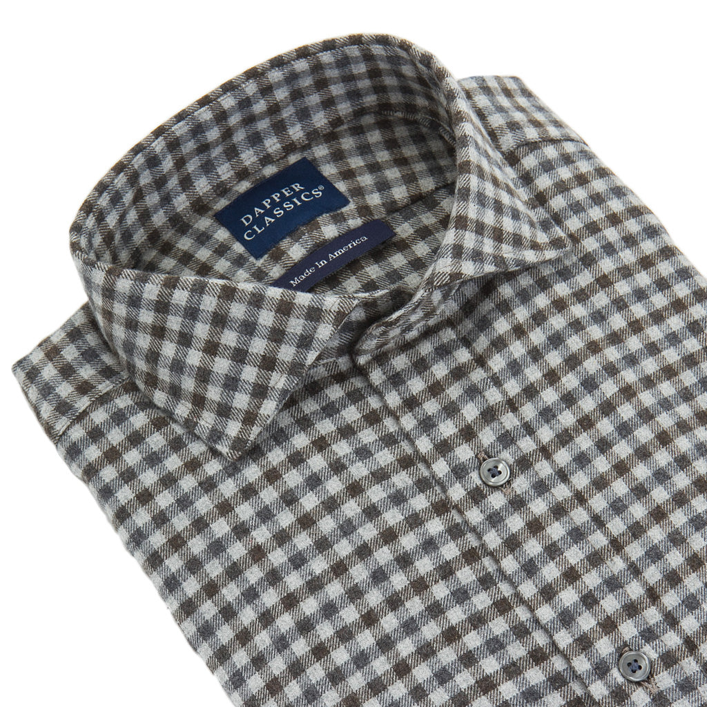 Charcoal-Gray-Brown-Plaid-Brushed-Cotton-Shirt