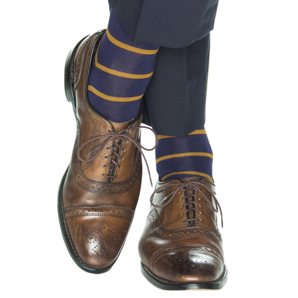 Classic-Navy-Gold-Stripe-Cotton-Sock