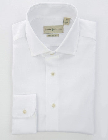 Mens White Dress Shirt - Tailored Fit - shirt - dapper-classics - 1