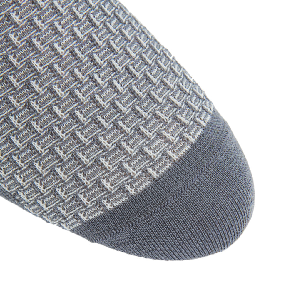 Grey-Cream-Wool-Basket-Weave-Sock