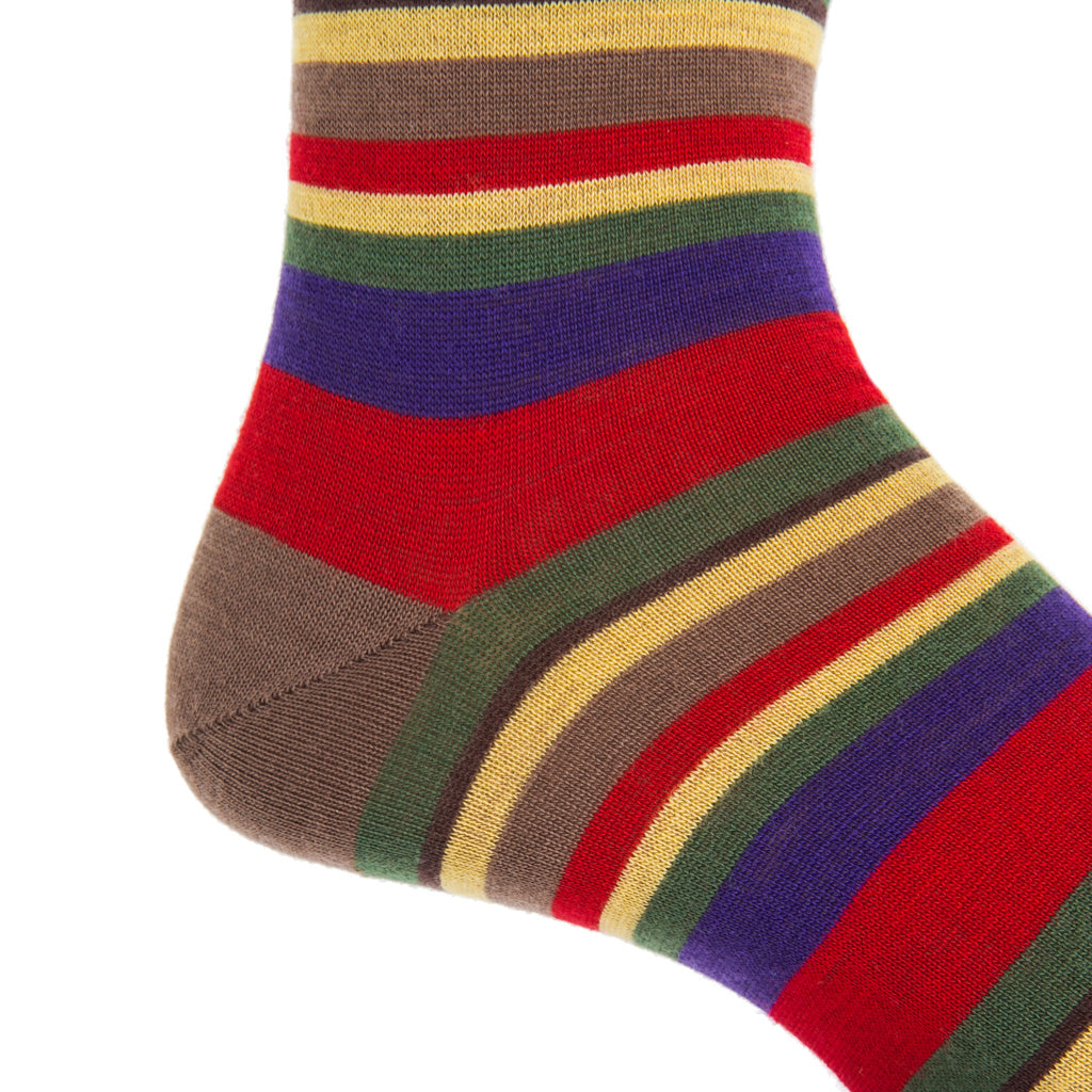 Red-Purple-Brown-Green-Yellow-Wool-Sock