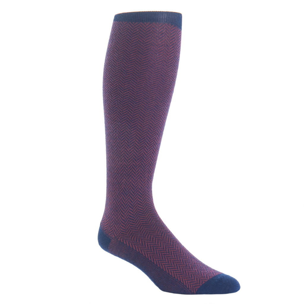 Over-The-Calf-Navy-Burgundy-Herringbone-Wool