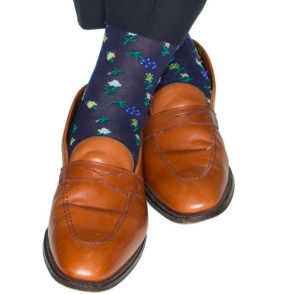 Navy-Mini-Floral-Cotton-Sock