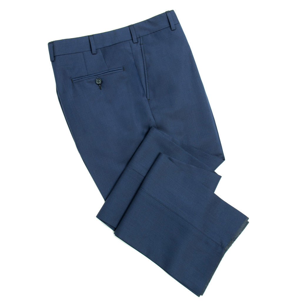 Super 110's Tropical Wool - Slim Fit - Navy Blue - trousers - dapper-classics - 1