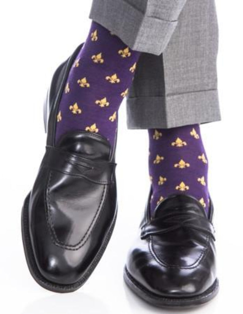 Purple and Yolk Fleur De Lis Merino Wool Linked Toe Over-The-Calf - over-the-calf - dapper-classics - 1