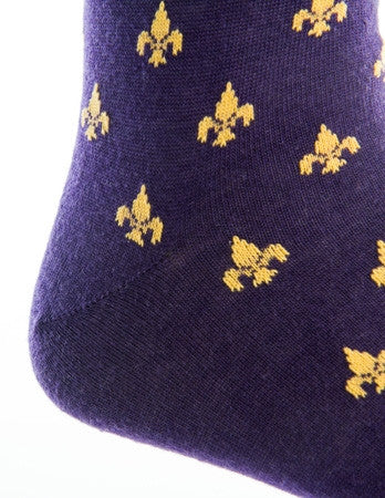 Purple and Yolk Fleur De Lis Merino Wool Linked Toe Over-The-Calf - over-the-calf - dapper-classics - 2
