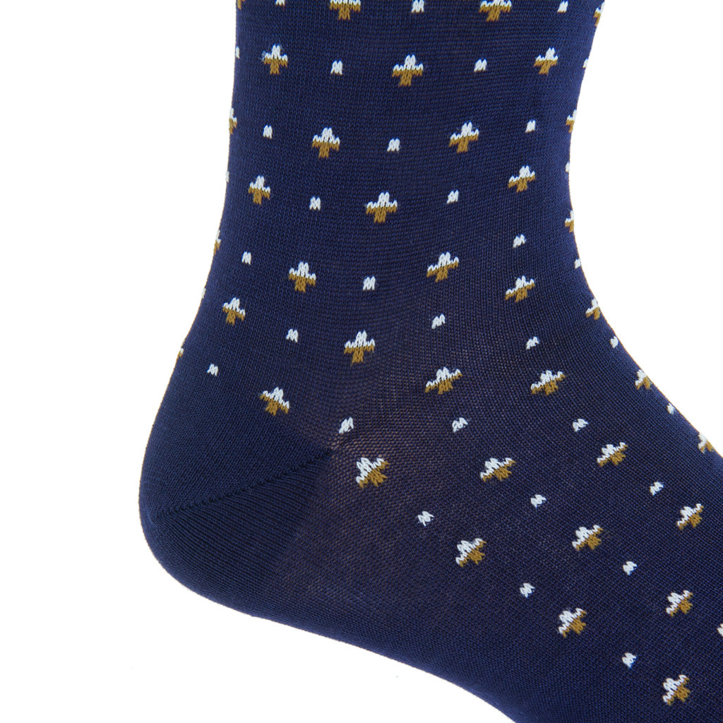 Mid-Calf-Navy-Gold-Cream-Cotton-Sock