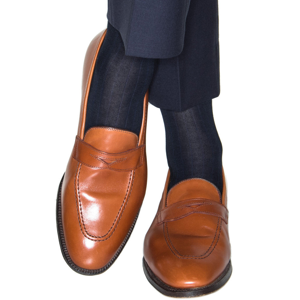 Black Ribbed Cotton Linked Toe Mid-Calf - mid-calf - dapper-classics