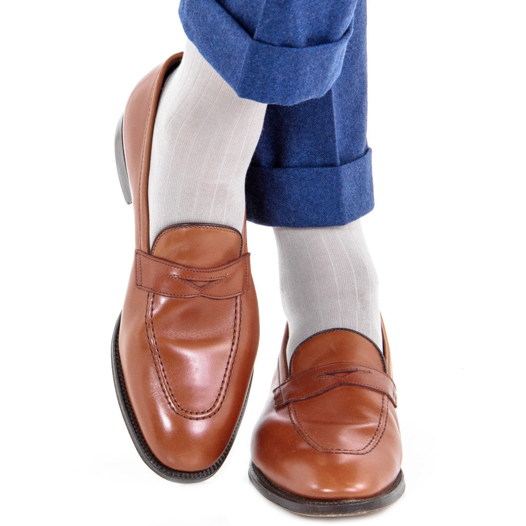 Light Grey Ribbed Sock Linked Toe OTC - over-the-calf - dapper-classics - 1