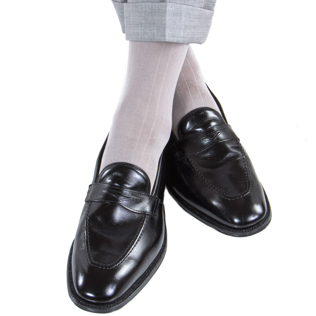 Light Grey Ribbed Linked Toe Mid-Calf - mid-calf - dapper-classics