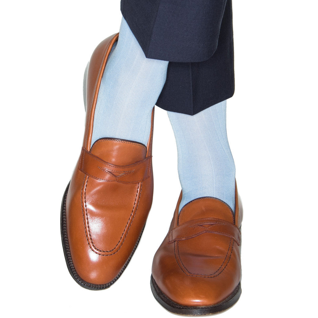 Sky Blue Ribbed Socks Linked Toe OTC - over-the-calf - dapper-classics