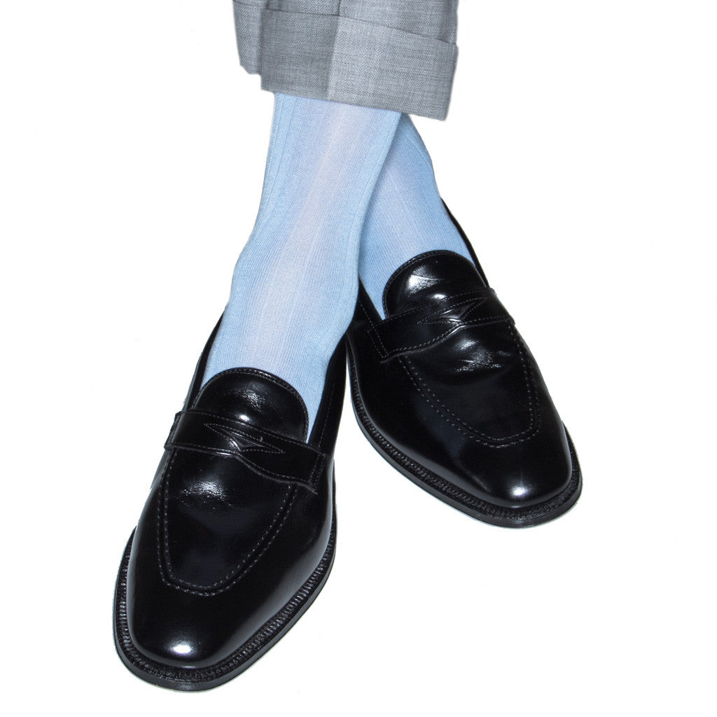 Sky Blue Ribbed Sock Linked Toe Mid-Calf - mid-calf - dapper-classics