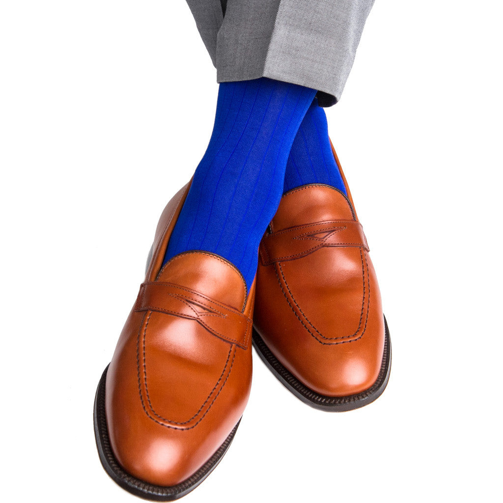 Clematis Blue Ribbed Linked Toe Mid-Calf - mid-calf - dapper-classics