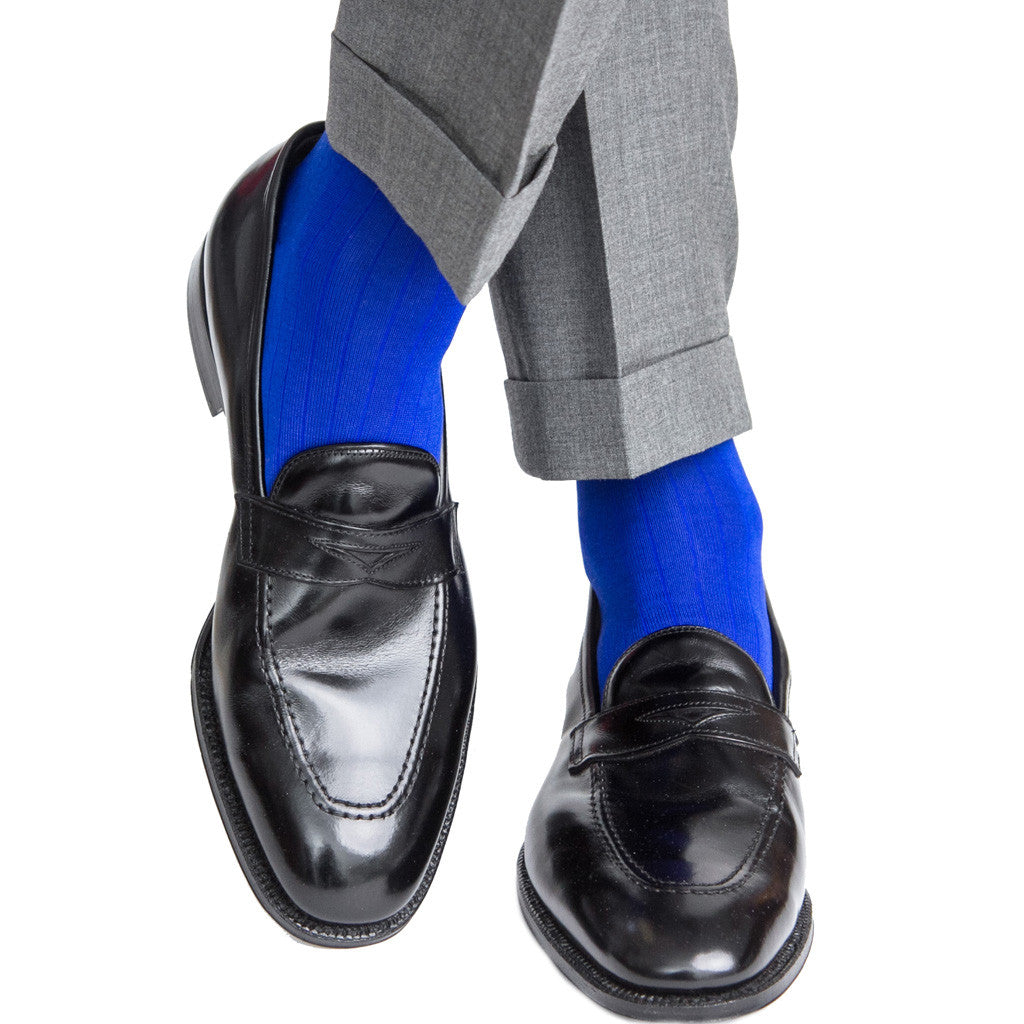 Clematis Blue Ribbed Sock Linked Toe OTC - over-the-calf - dapper-classics