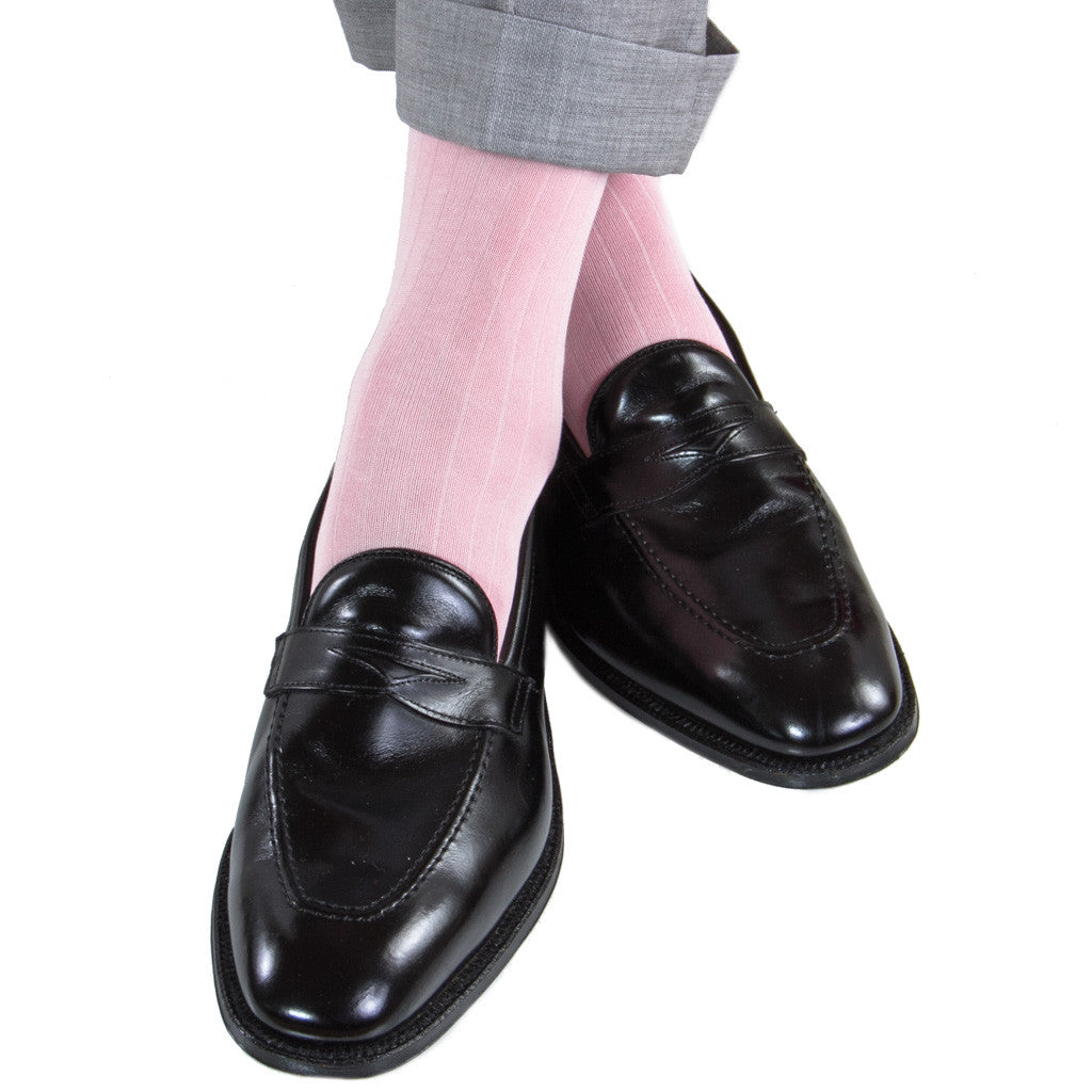 Pink Ribbed Sock Linked Toe Mid-Calf - mid-calf - dapper-classics