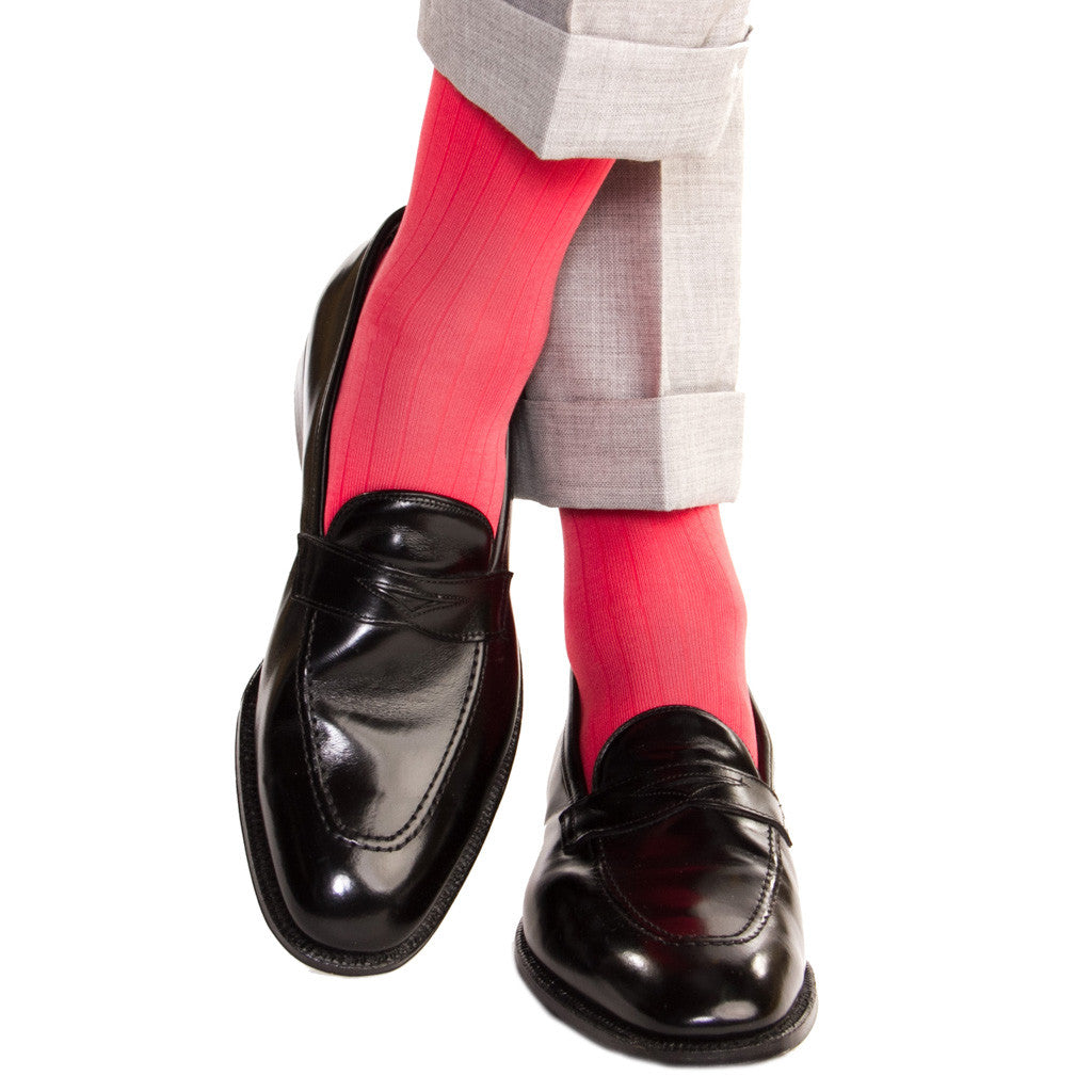 Coral Ribbed Socks Linked Toe OTC - over-the-calf - dapper-classics