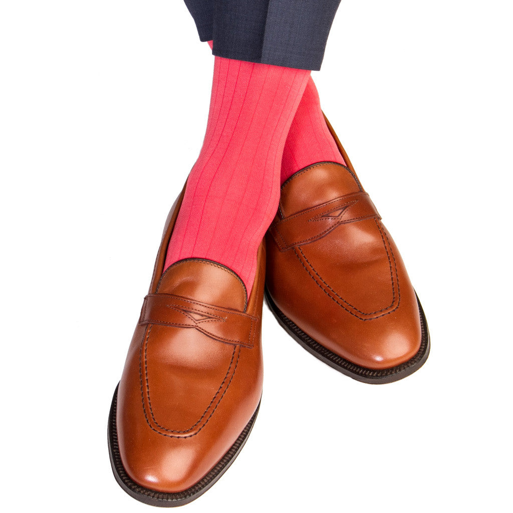 Coral Ribbed Socks Linked Toe Mid-Calf - mid-calf - dapper-classics