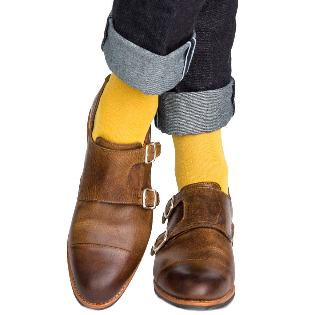 Yolk Ribbed Sock Linked Toe OTC - over-the-calf - dapper-classics