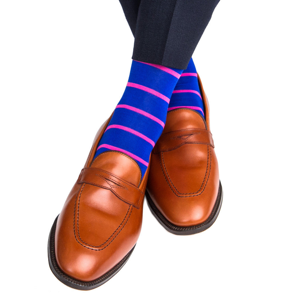 Clematis Blue with Rose Stripe Linked Toe Mid-Calf - mid-calf - dapper-classics