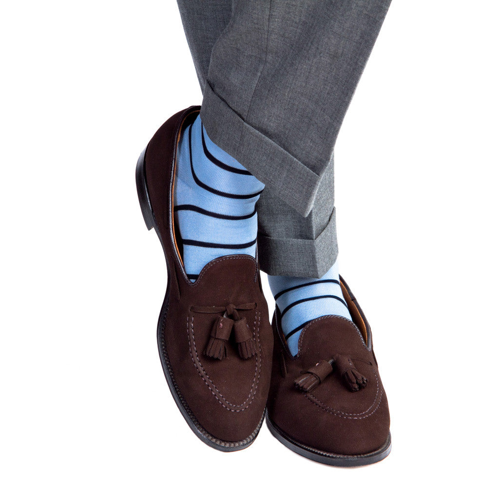 Sky Blue with Navy Stripe Socks - over-the-calf - dapper-classics