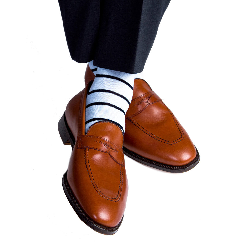 Sky Blue with Navy Stripe Linked Toe Mid-Calf - mid-calf - dapper-classics