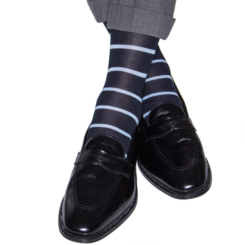 Navy with Sky Blue Stripe Sock Linked Toe OTC - over-the-calf - dapper-classics