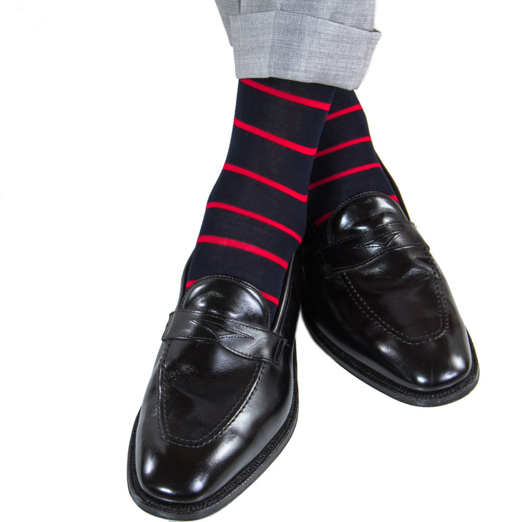 Navy with Red Stripe Socks Linked Toe Mid-Calf - mid-calf - dapper-classics