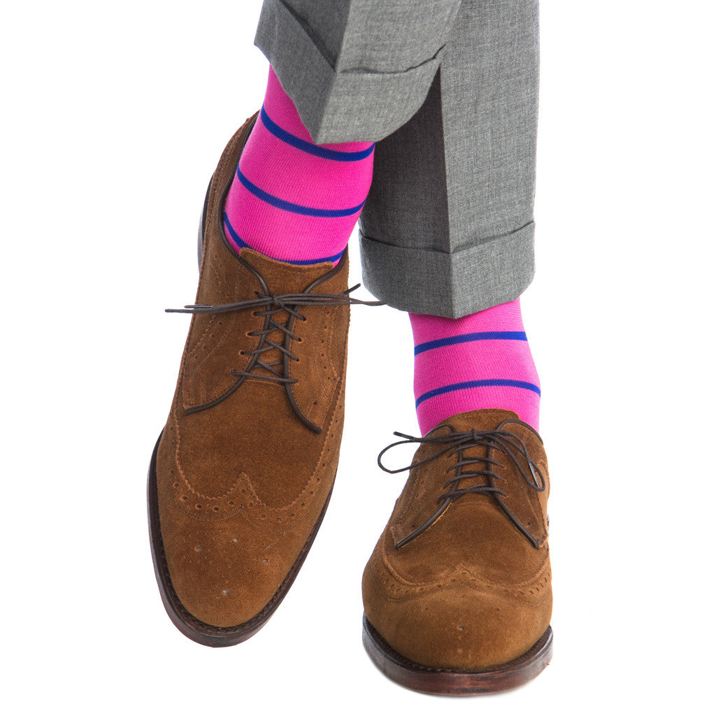 Rose with Clematis Blue Stripe Linked Toe OTC - over-the-calf - dapper-classics