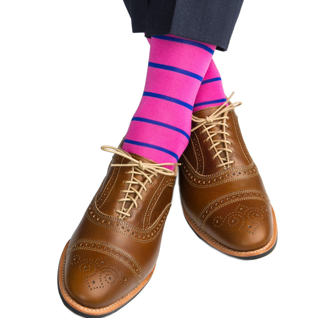 Rose with Clematis Blue Stripe Sock Linked Toe Mid-Calf - mid-calf - dapper-classics