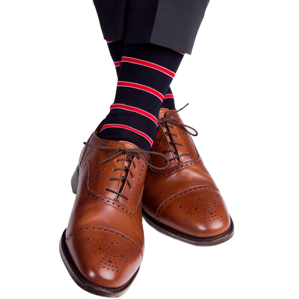 Navy with Red Stripe and White Accent Linked Toe Mid-Calf - mid-calf - dapper-classics