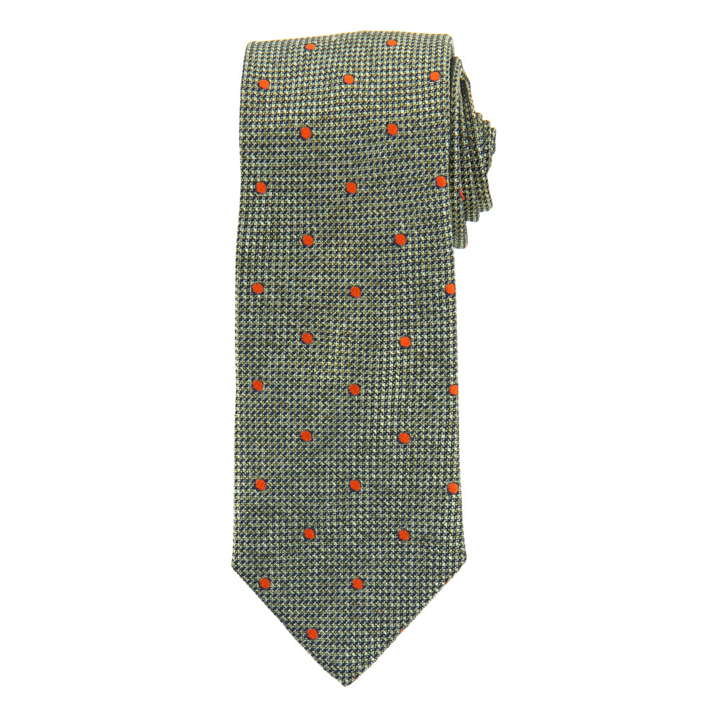 Sage with Tigerlily Orange Dot Woven Melange Italian Silk Necktie