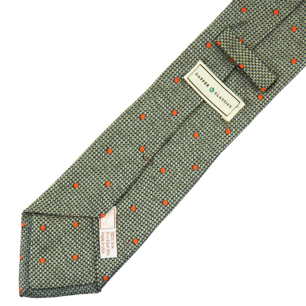 Sage with Tigerlily Orange Dot Necktie