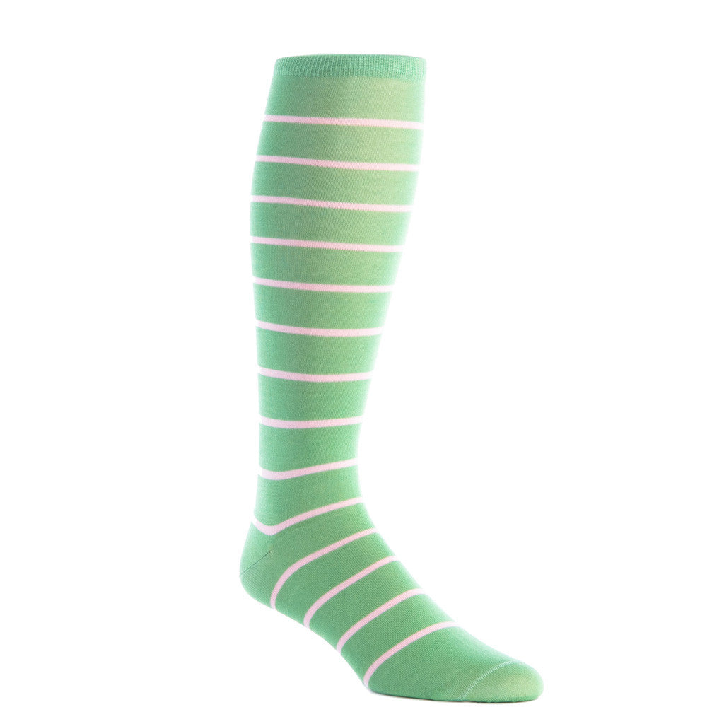 Green Grass with Pink Stripe Socks Linked Toe OTC - over-the-calf - dapper-classics