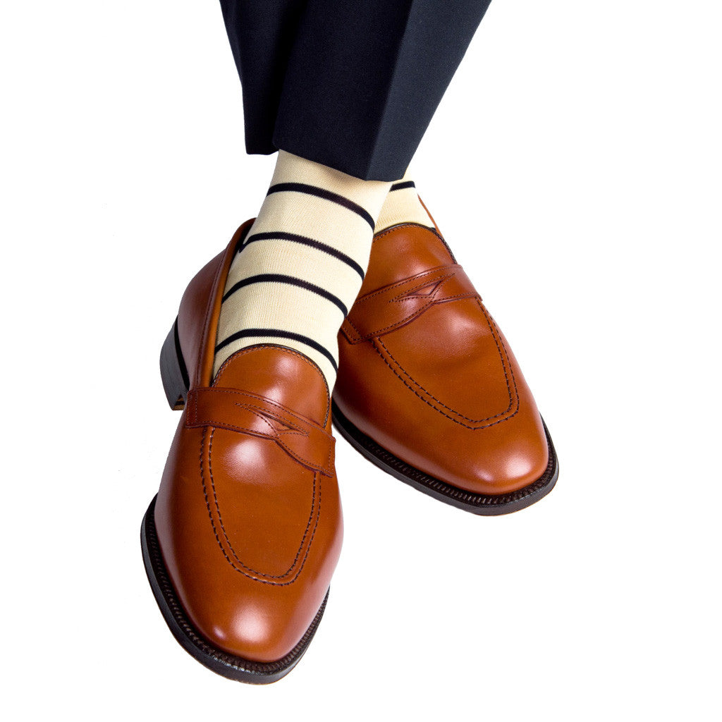 Yellow with Navy Stripe Sock Linked Toe Mid-Calf - mid-calf - dapper-classics