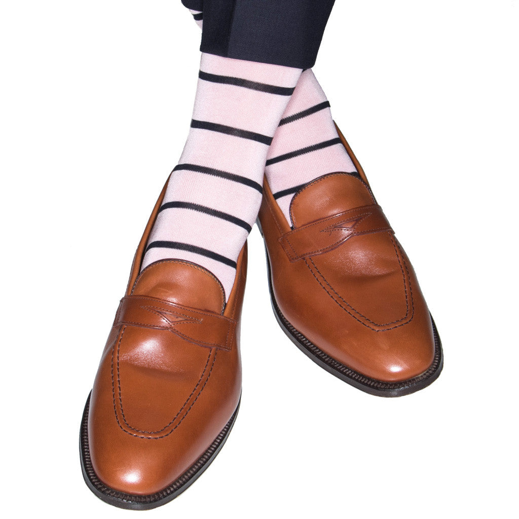 Pink Socks with Navy Stripes Linked Toe Mid-Calf - mid-calf - dapper-classics