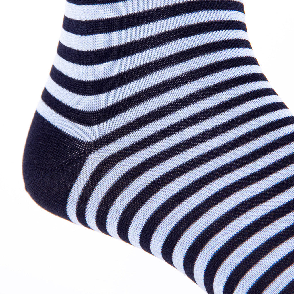 Navy with Sky Repeating Stripe Linked Toe Mid-Calf - mid-calf - dapper-classics