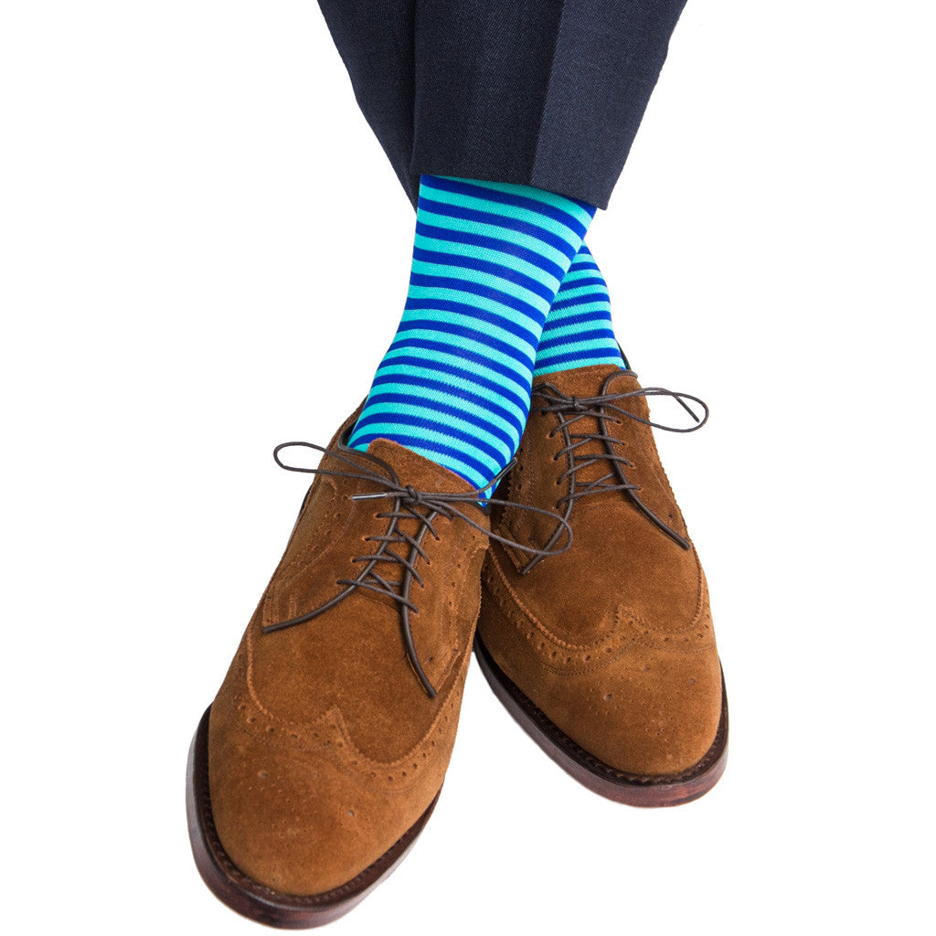 Clematis Blue with Ceramic Repeating Stripe Linked Toe Mid-Calf - mid-calf - dapper-classics