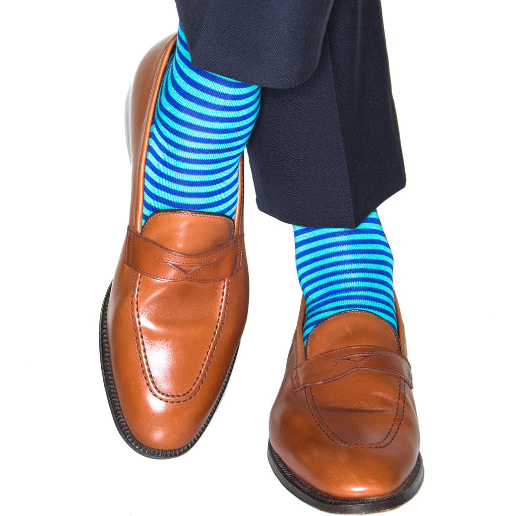 Clematis Blue with Ceramic Repeating Stripe Sock Linked Toe OTC - over-the-calf - dapper-classics