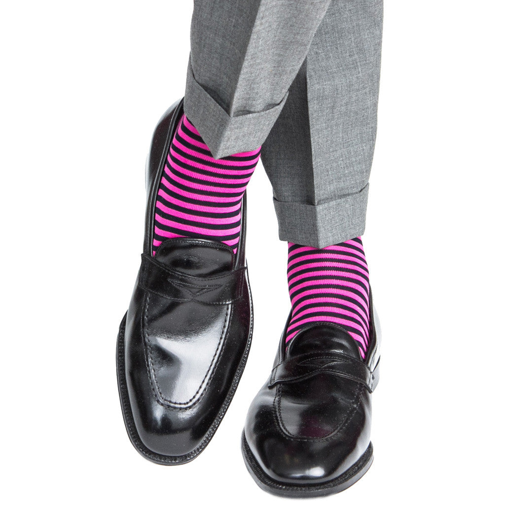 Navy with Rose Repeating Stripe Linked Toe Mid-Calf - mid-calf - dapper-classics