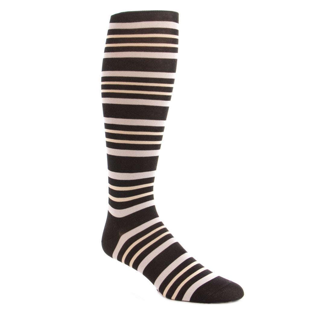 ... Black with Ash and Tan Double Stripe Socks Linked Toe OTC - over-the-  ... - Black With Ash And Tan Double Stripe Cotton Sock Linked Toe OTC