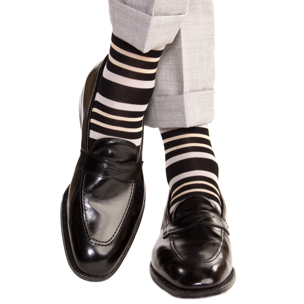 Black with Ash and Tan Double Stripe Socks Linked Toe OTC - over-the-calf - dapper-classics
