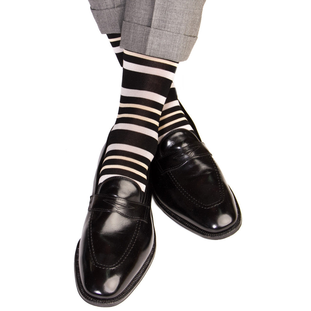 Black with Ash and Tan Double Stripe Socks Linked Toe Mid-Calf - mid-calf - dapper-classics